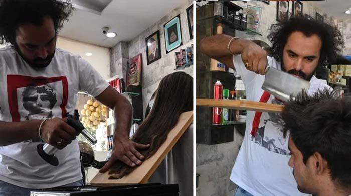 یہ نائی ہے یا قصائی؟ قینچی کے بجائے چاپڑ سے بال کاٹنے والا ماہر پاکستانی